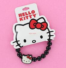 New Hello Kitty Bracelet - Black Beads with Kitty Head - Stretch