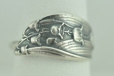 Beautiful 925 Sterling Silver Little Lily Of The Valley Flower Spoon Ring