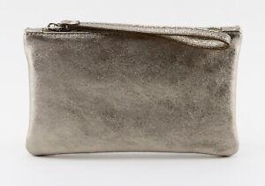 Ladies women's stylish genuine leather metallic gold color clutch purse wristlet