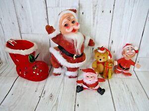 5 x Vintage Flocked Christmas Decorations Santa Stocking Teddybear Retro Kitsch