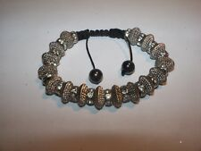 Silver tone channel Rhinestone bead adjustable Macrame cord bracelet