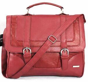 Lorenz Cowhide Genuine Real Leather Satchel Messenger Shoulder Bag Handbag Red