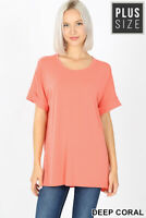 New! ZENANA plus size coral rolled cuff short sleeve scoop neck hi/lo hem tee