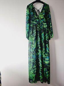 Stunning Green Leafy RIVER ISLAND Layered Maxi DRESS SIZE 18 BNWT RRP £60