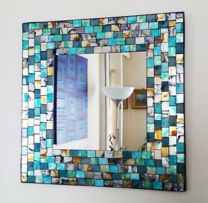 Square mosaic wall mirror, teal & gold brushed style, hand made in Bali 38cm NEW