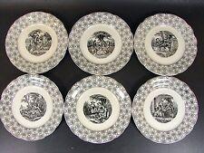Lot 6 assiettes parlantes porcelaine HB Choisy le Roi SCENES GALANTES signées