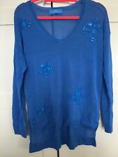 Next Ladies Blue Jewelled Jumper Size 12 New