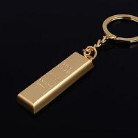 Moda metal artificial barra de oro lingote oro llavero llavero reg*ws