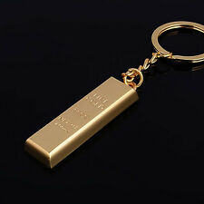Fashion Metal Faux Gold Bar Ingot Bullion Keychain Key Chain Keyring Keyfob  IO