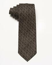 "Isaia Napoli NWT $230 Brown Beige Vine Pattern 7 Fold 100% Wool Classic Tie 3.5"""