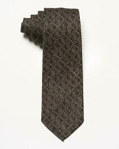 Isaia Napoli NWT $230 Brown Beige Vine Pattern 7 Fold 100% Wool Classic Tie 3.5""
