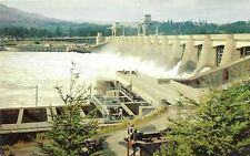 Vintage Oregon Chrome Postcard Bonneville Dam Spillway Fish Ladders Washington
