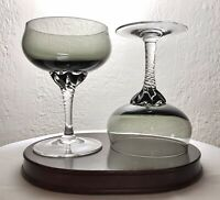 "Pair Sasaki Coronation Smoke Crystal Twisted Stem Sherbet Wine Martini Glass 5"""