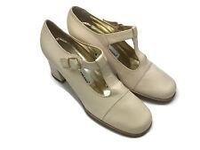 Vintage Dolce & Gabbana Classic Mary Janes Pumps Leather Heels Ecru Beige 36.5 6
