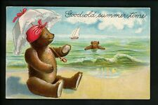 Teddy Bear postcard Vintage embossed beach seashore sailboat umbrella swimming