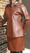 BROWN LEATHER  SHIRT and SKIRT - DONCASTER  size Medium 12