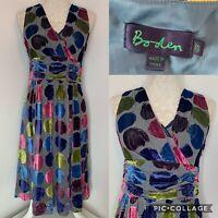 BODEN Silver Silk Blend Velvet Polka Dots Spotted Dress Size 12