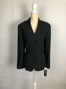 NWT Rare Kasper ASL Suit Black Button Front Blazer 14 Formal Satin Collar $240