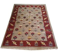 Vintage Cotton Hand Knotted Beige Carpet Kilim Area Rug Size 5x7 Feet