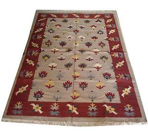 Vintage Cotton Hand Knotted Beige Carpet Kilim Area Rug Size 5x7 Feet