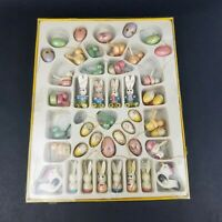 Vintage Easter Hand Painted Wood Ornaments in Original Box Bunny Eggs Spring