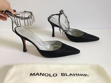 MANOLO BLAHNIK $530 Evening Heels w/ Crystal Strap--36/6--EXCELLENT CONDITION!!!