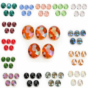 10pcs 20x16mm Faceted Oblong Cut Glass Crystal Loose Spacer Oval Beads Crafts