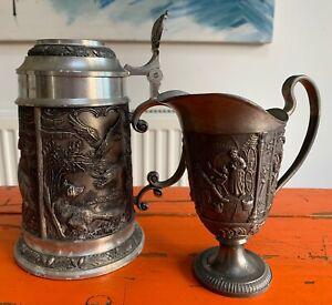 vintage BmF Zinn 97 percent German Pewter Beer Stein & Wine jug
