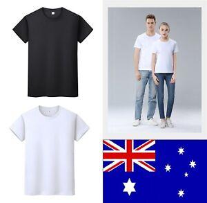 AU NEW Unisex Men Women Cotton Plain Blank T-Shirt Basic Tee White/Black S-XXL