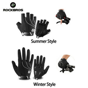 ROCKBROS Bicycle Full-finger/Half-finger Cycling Touch Screen Gloves Black White