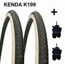 2 Pneus KENDA 24X1.75 K199 Blanc/Noir Vélo 24 Hollande Graziella + 2 Chambres