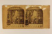 La Confessione Scena Artistica Eglise c1860 Foto Stereo Vintage Albumina