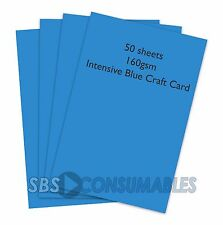 50 SHEETS A4 160gsm CLAIREFONTAINE COLOURED CRAFT CARD - INTENSIVE BLUE - 1022