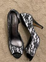 Polo Ralph Lauren Women's Size 8M Gray Black Lace Peep Toe Pumps Heels Shoes