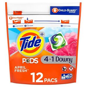 Tide Pods Plus Downy April Fresh, 12 Ct Laundry Detergent Pacs World Wide Ship