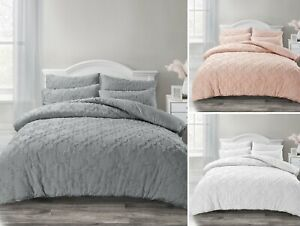 Ophelia Soft Tufted Moroccan Style Geometric Grey Duvet Cover & Pillowcase Set