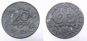 POLAND - GENERAL GOVERNMENT 20 GROSZY 1923  Y# 37 ZINC - RARE OLD WWII COIN