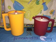 VINTAGE TUPPERWARE 2 QT. YELLOW PUSH BUTTON PITCHER # 1676 CRANBERRY GO BETWEEN