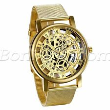 Men's Luxury Roman Numberals Dial Stainless Steel Mesh Band Quartz Wrist Watch