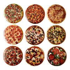 PIZZA Fridge Magnets Set x 9 55mm Novelty Round Junk Food Kitchen Magnet Gift