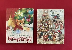 Punch Studio Set of 2 Christmas Kitty Pocket Notepads-New