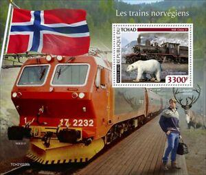 Chad 2021 MNH Norwegian Trains Stamps NSB Class 21 Railways Rail 1v S/S