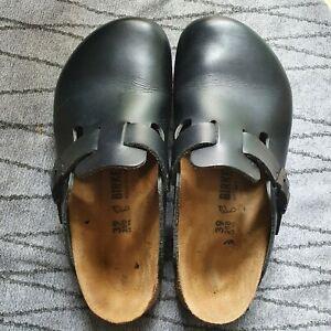 Birkenstocks Boston in Black Leather with Super Grip Soles. Size 6 Eu 39