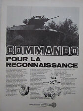 4/1973 PUB CADILLAC GAGE COMMANDO RECONNAISSANCE BLINDE ORIGINAL FRENCH AD