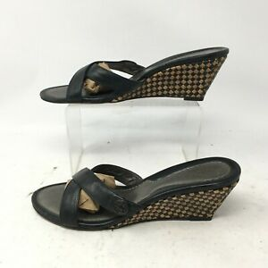 Cole Haan Woven Wedge Cross Strap Slide Casual Sandal Womens 9B Black Leather