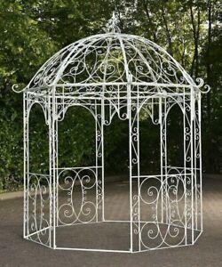 Pavillon Eisen antik-weiß Rankhilfe Rosenbogen Rankgitter Gartenpavillon