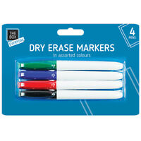 Dry Erase Markers 4 Pens Thin/Thick Slim Marker Board Whiteboard Dry Wipe Clean