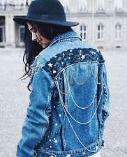 ZARA Blue Star Studded DENIM JACKET WITH METALLIC DETAILS Large L