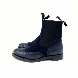 Botti 1913 Dandy Style Boots Navy Blue Leather Suede Sz US: 7 / EUR: 38 / UK: 5