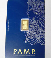 Pamp Lady Fortuna 1 g 999.9 Fine Gold. 1 Gram Gold Bar in Veriscan Assay Card